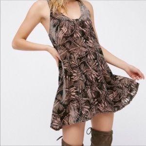 Free People Ellie Burnout A-Line Velvet Dress XS